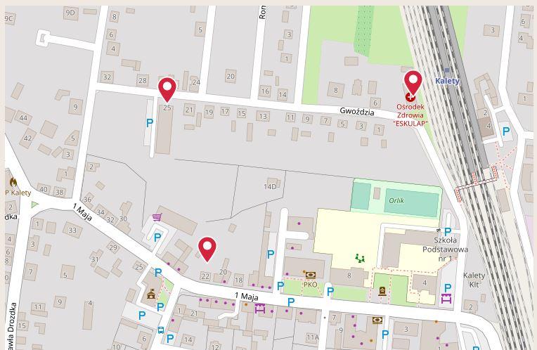 Wycinek mapy obrazujący kaletańskie ośrodki zdrowia - punkty szczepień